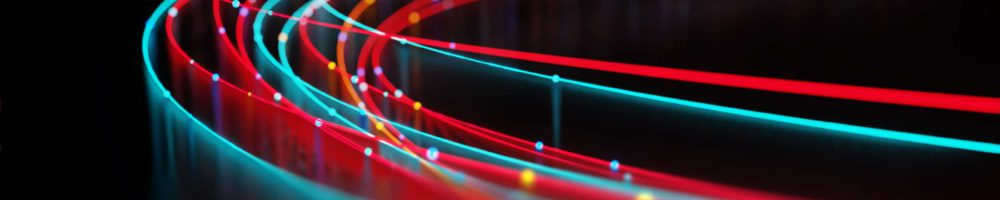 blur image of  fiber optics lights abstract background for use as technology internet backdrop